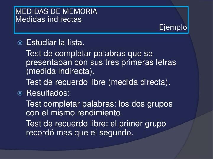 MEDIDAS DE MEMORIA