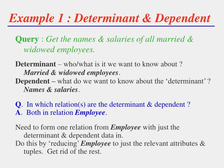 Example 1 : Determinant & Dependent