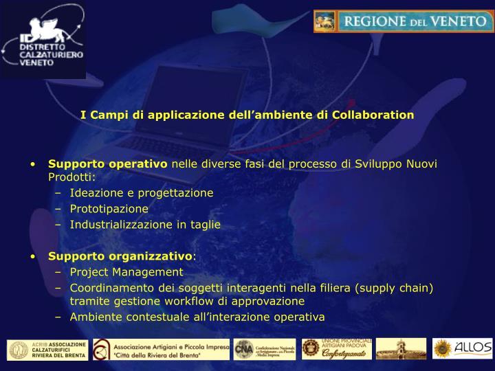 I Campi di applicazione dell'ambiente di Collaboration