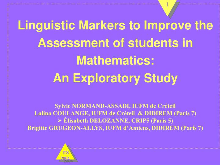 Linguistic markers to improve the assessment of students in mathematics an exploratory study