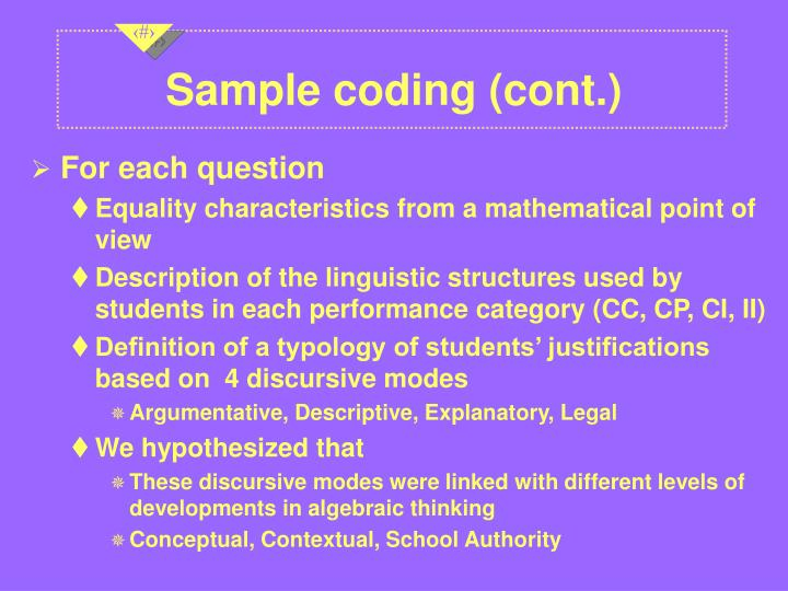 Sample coding (cont.)