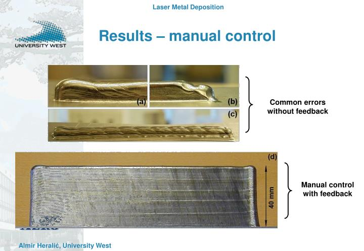 Results – manual control