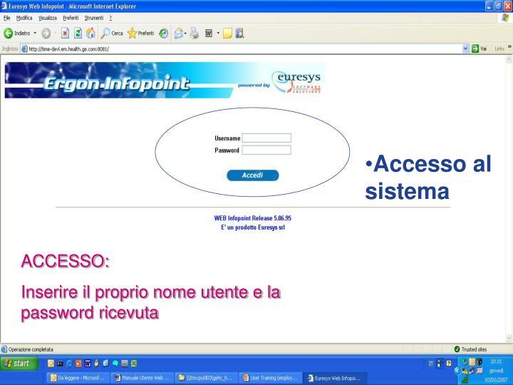 Accesso al sistema