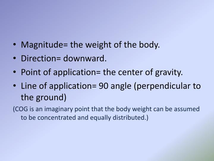 Magnitude= the weight of the body.