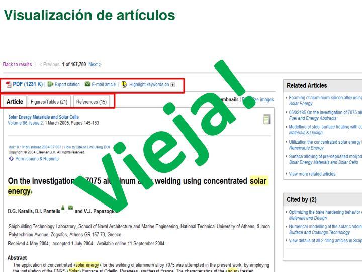 Visualización de artículos