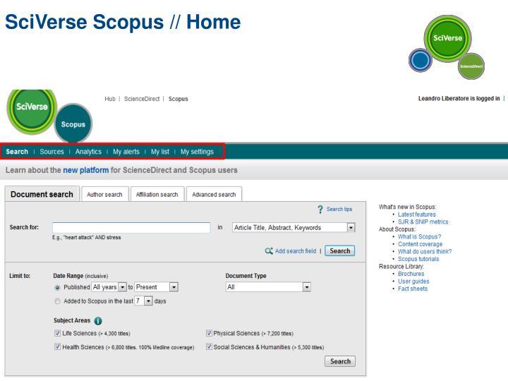 SciVerse Scopus // Home