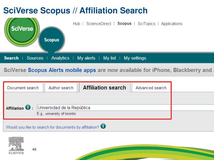 SciVerse Scopus // Affiliation Search