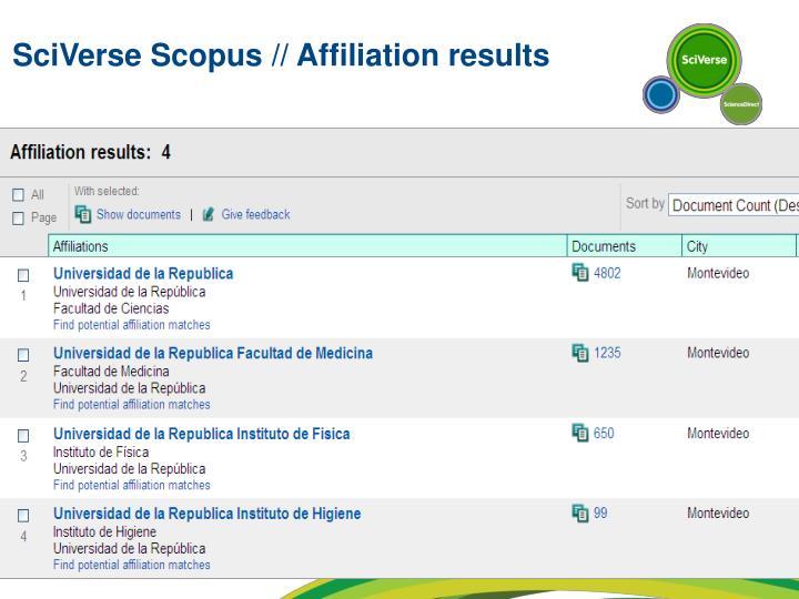 SciVerse Scopus // Affiliation results