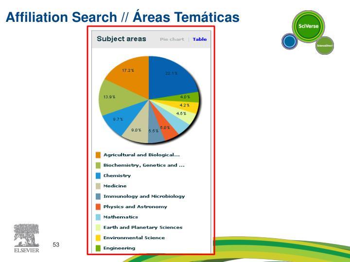 Affiliation Search // Áreas Temáticas