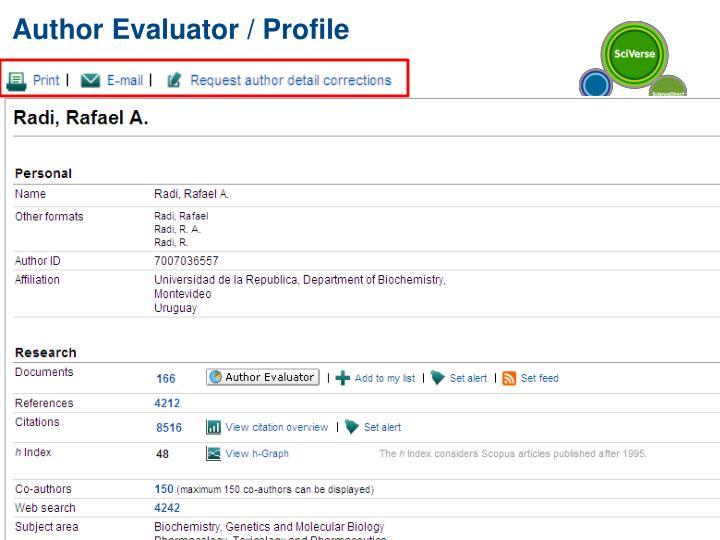 Author Evaluator / Profile
