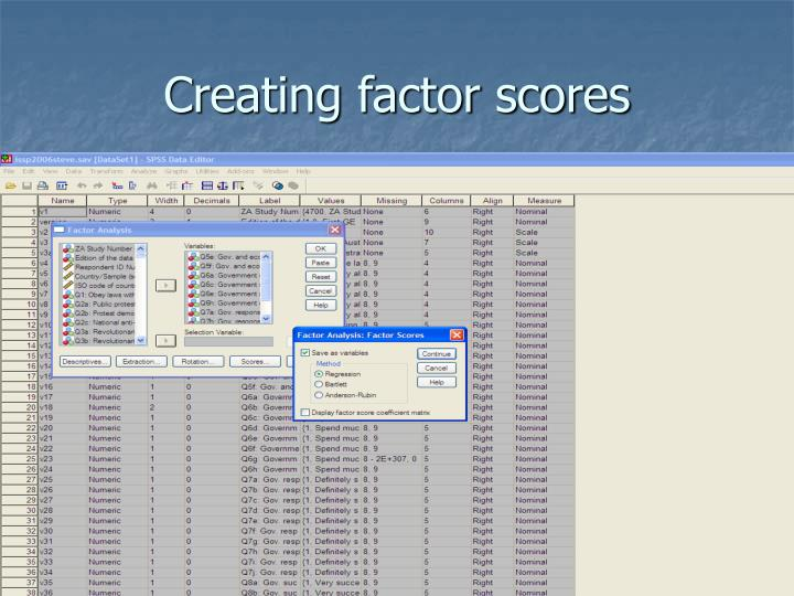 Creating factor scores