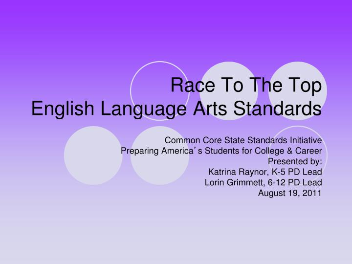 Race to the top english language arts standards