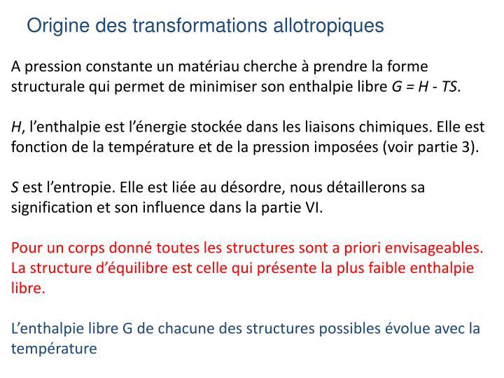 Origine des transformations allotropiques