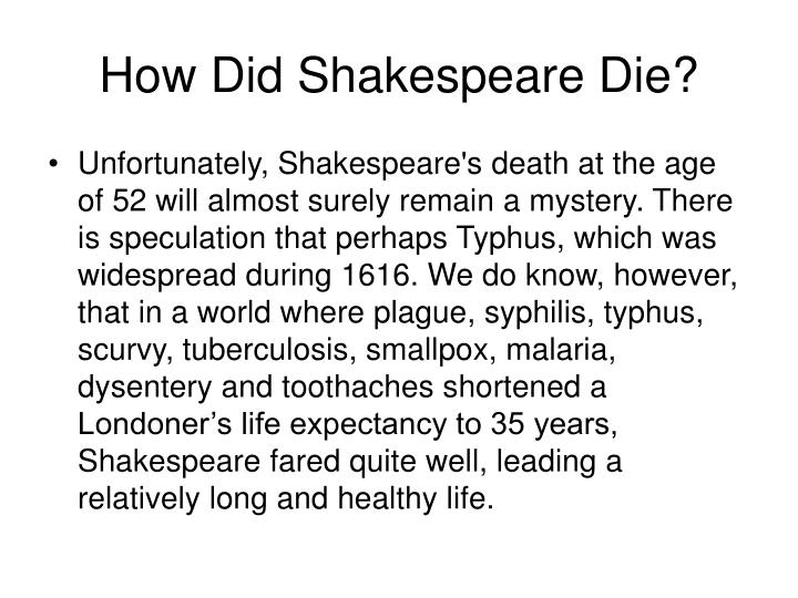 How Did Shakespeare Die?