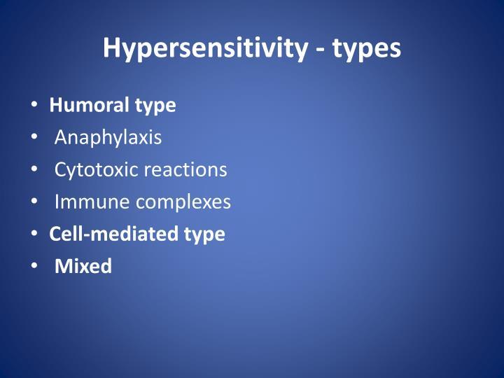 Hypersensitivity - types
