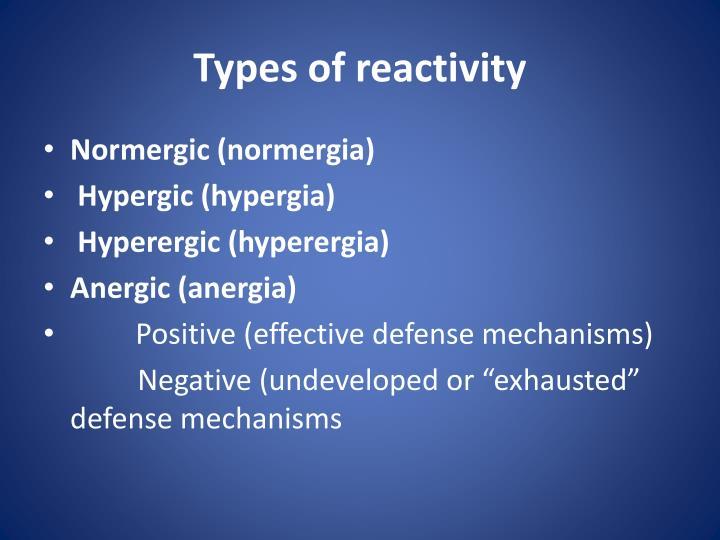 Types of reactivity