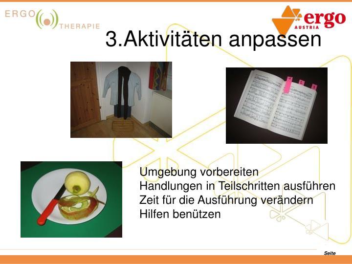 3.Aktivitäten anpassen