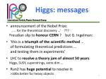 higgs messages
