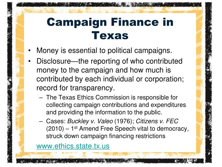 Campaign Finance in Texas