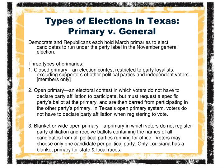 Types of Elections in Texas: