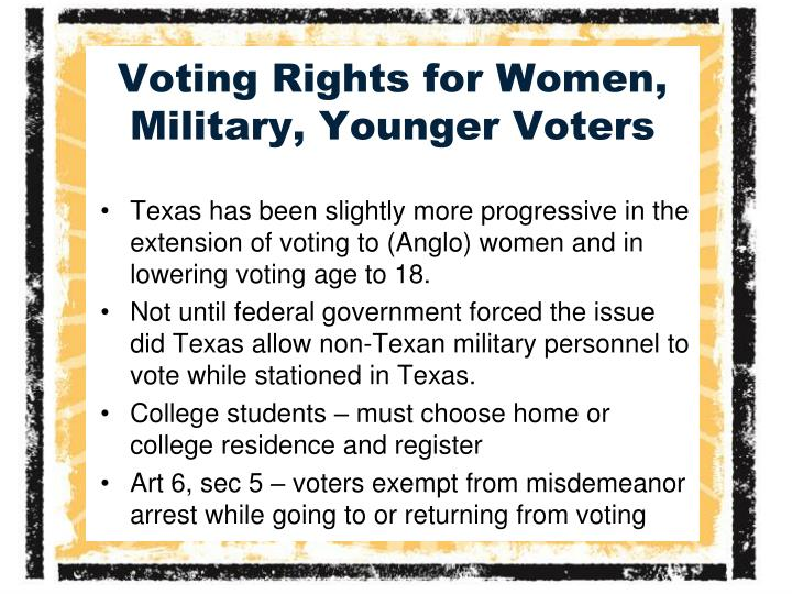 Voting Rights for Women, Military, Younger Voters