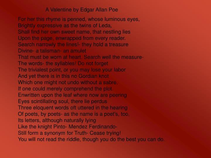 A Valentine by Edgar Allan Poe
