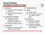 fiscal policies examples of areas to cover