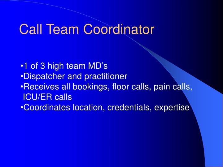 Call Team Coordinator