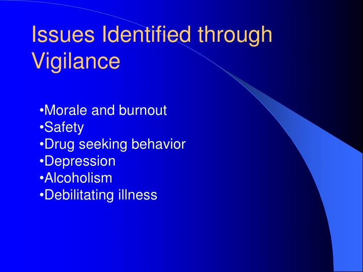 Issues Identified through Vigilance