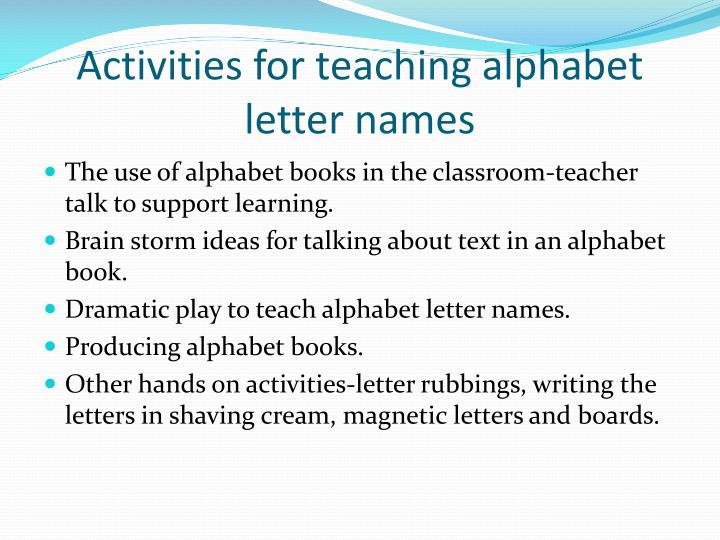 Activities for teaching alphabet letter names
