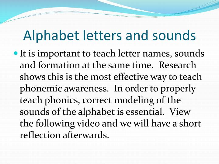 Alphabet letters and sounds