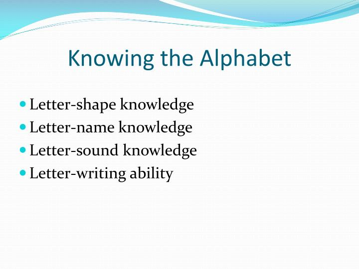 Knowing the Alphabet