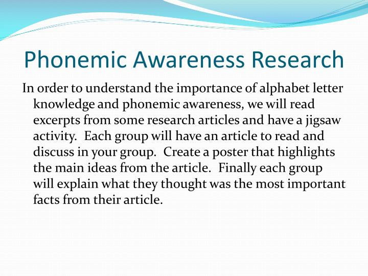 Phonemic Awareness Research