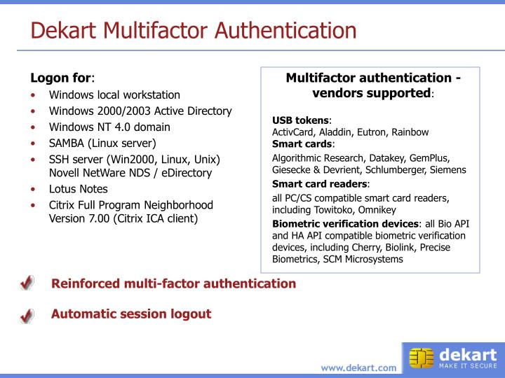 Dekart Multifactor Authentication
