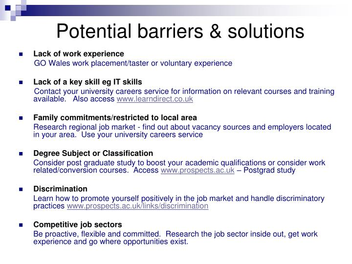 Potential barriers & solutions
