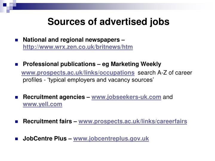 Sources of advertised jobs