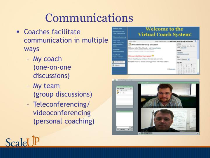 Coaches facilitate communication in multiple ways