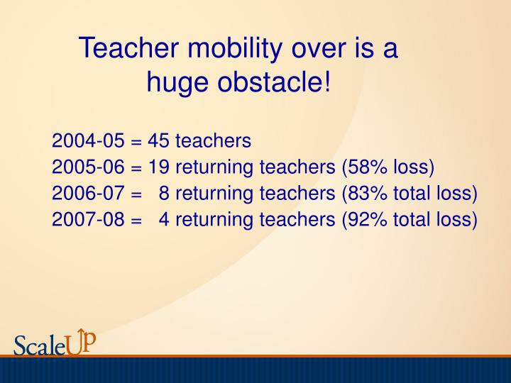 Teacher mobility over is a huge obstacle!