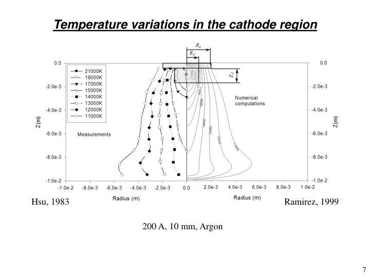 Temperature variations in the cathode region