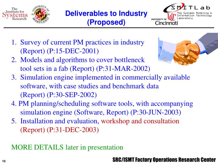 Deliverables to Industry