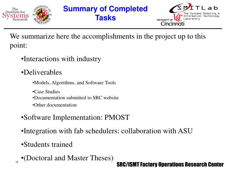 Summary of Completed Tasks