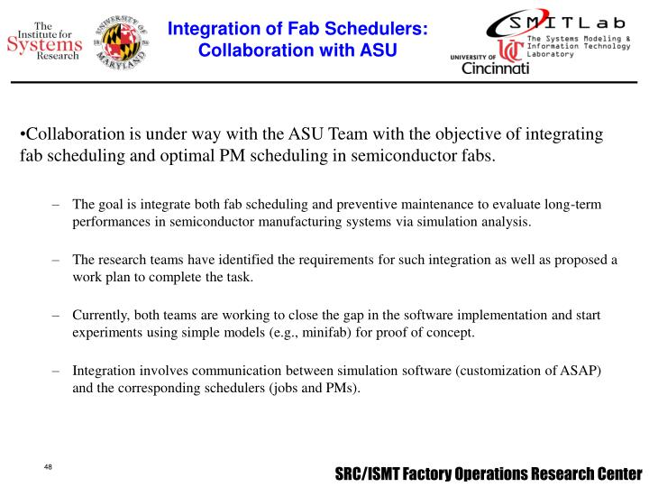 Integration of Fab Schedulers:
