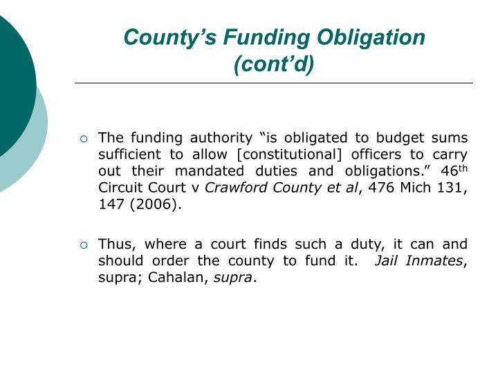 County's Funding Obligation (cont'd)