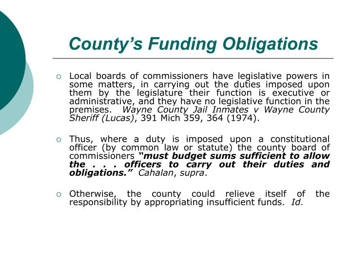 County's Funding Obligations