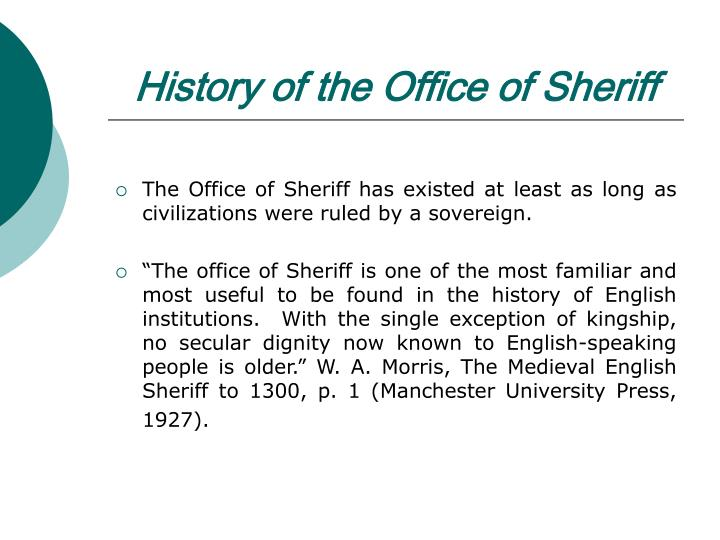 History of the Office of Sheriff