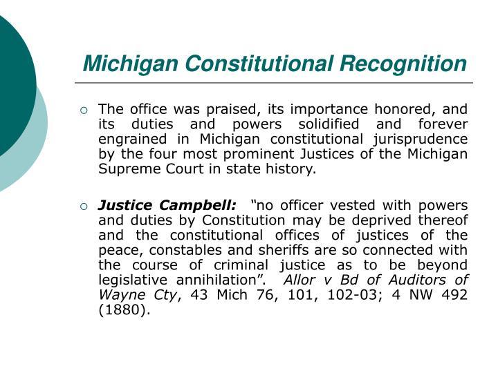 Michigan Constitutional Recognition