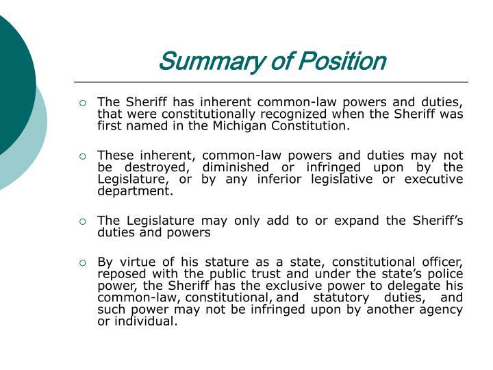 Summary of Position
