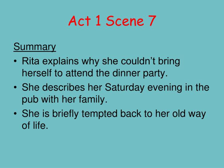 "educating rita act 1 scene 2 Transcript of educating rita- act 1 -scene 6 confusion/ humor: ""it is (a tragedy) for the poor sod under the tree"" –p 41  rita's limitations s c e n e 6 ."