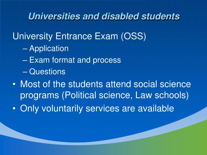 Universities and disabled students
