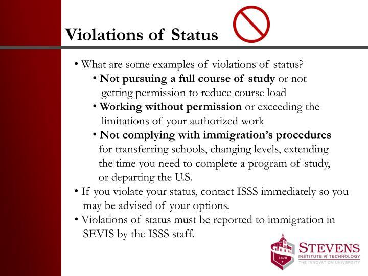 Violations of Status